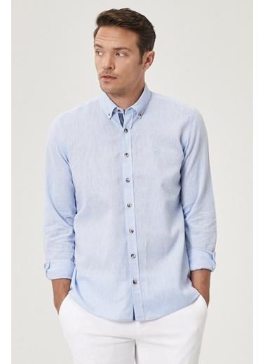 Beymen Business 4B2021200023 Slim Fit Gömlek Keten Mavi